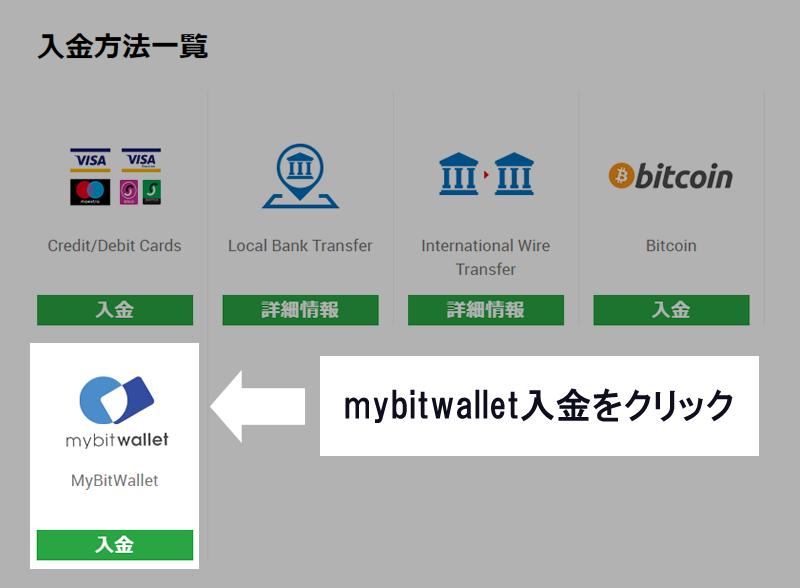 mubitwallet入金の緑ボタンをクリック