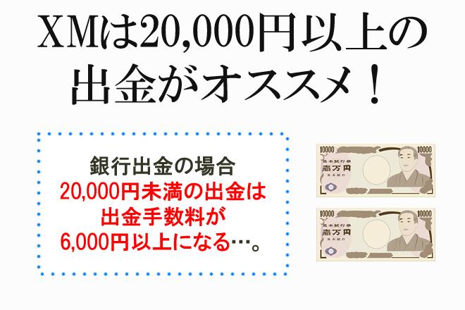 XMは20000円以上の出金がおすすめ