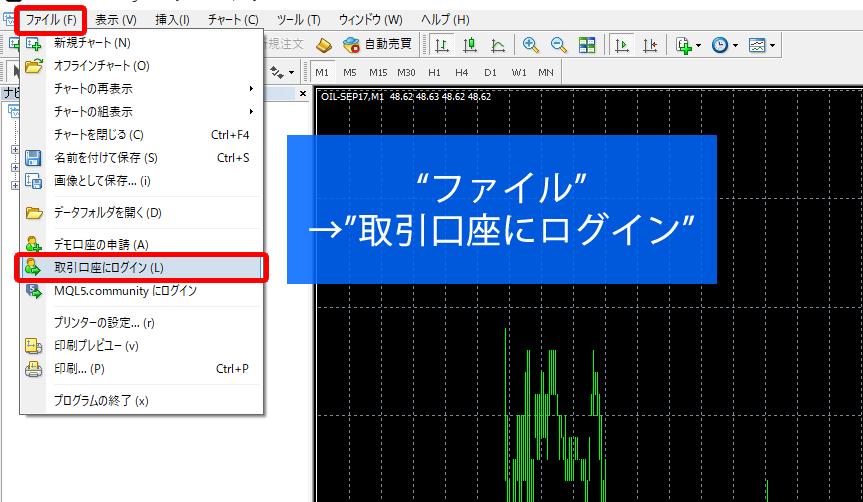 MT4のログイン方法はファイルから取引口座にログインをクリック
