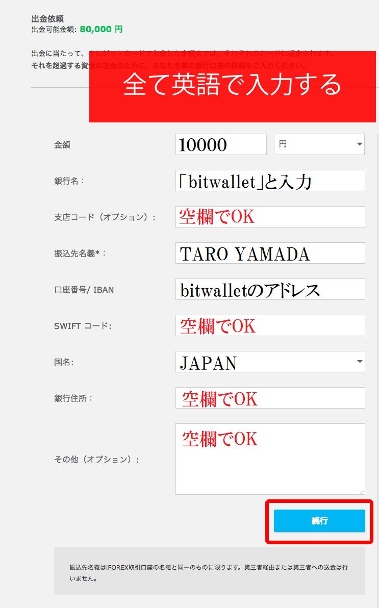 iforexのbitwallet出金申請画面