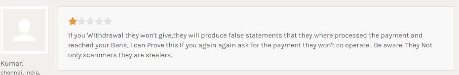 IronFXの支払い処理の虚偽申告