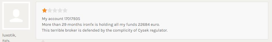 IronFXにて29か月も出金できていない
