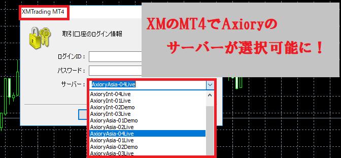 XMのMT4でAxioryのサーバーが利用できるようになる