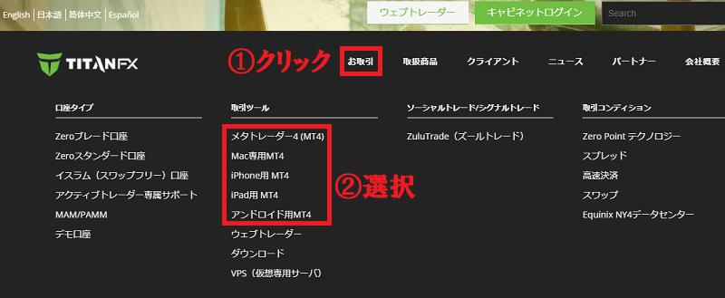 TitanFXの公式ページでMT4を選択する