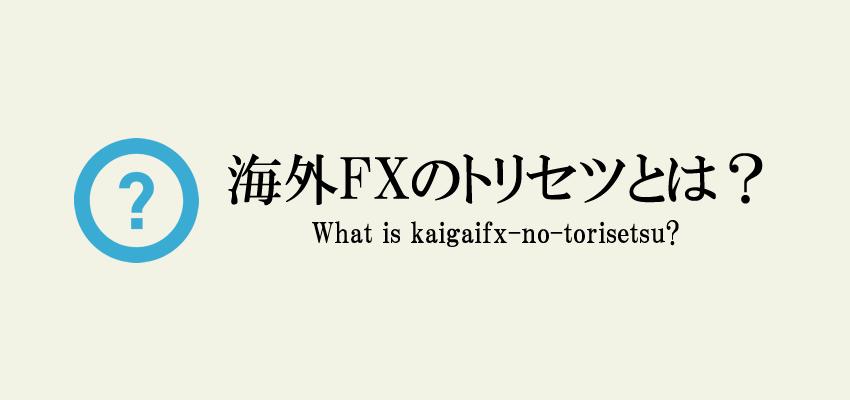海外FXのトリセツとは