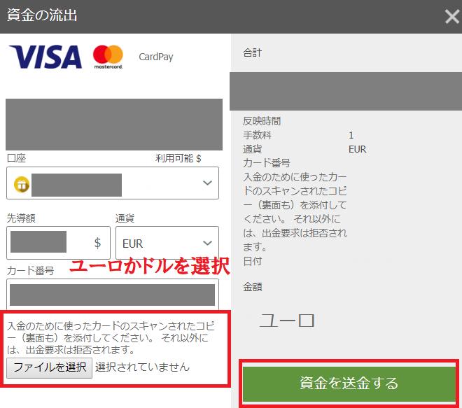 クレジットカード出金の情報入力画面
