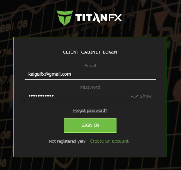 TitanFXのマイページログイン画面
