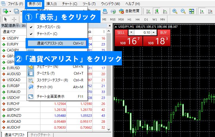 MT4で「表示」→「通貨ペアリスト」の順にクリック