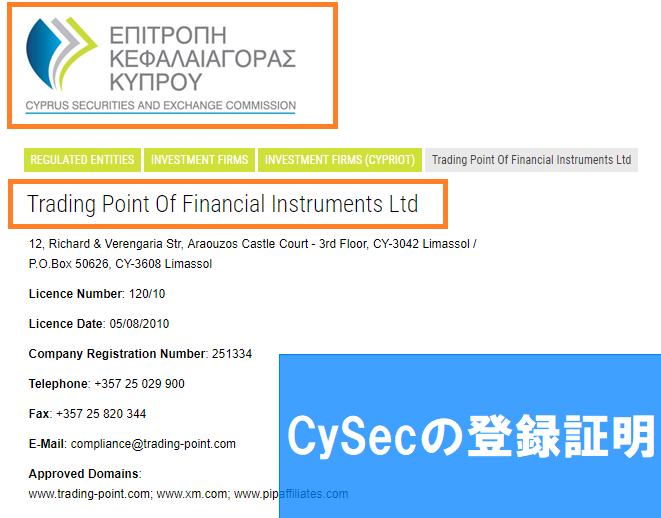 CySECの登録証明