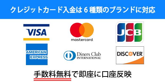 GEMFOREXは6種類のクレジットカードで入金できる