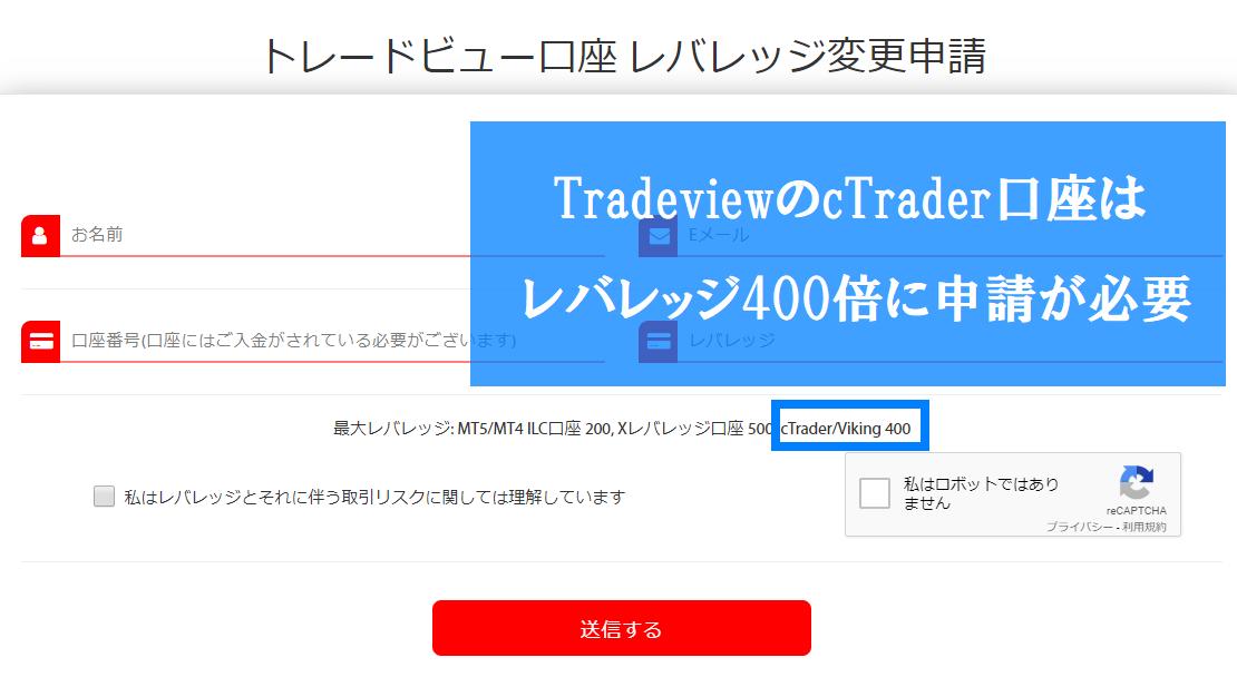 Tradeviewのレバレッジ変更申請フォーム