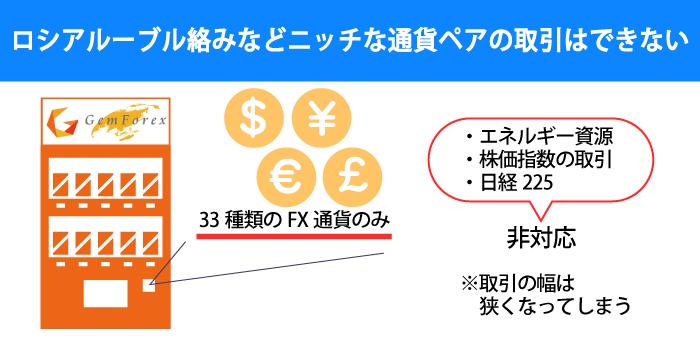GEMFOREXではニッチな通貨ペアやCFDを取引できない