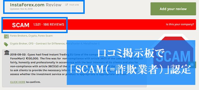 instaforexは詐欺業者認定されている