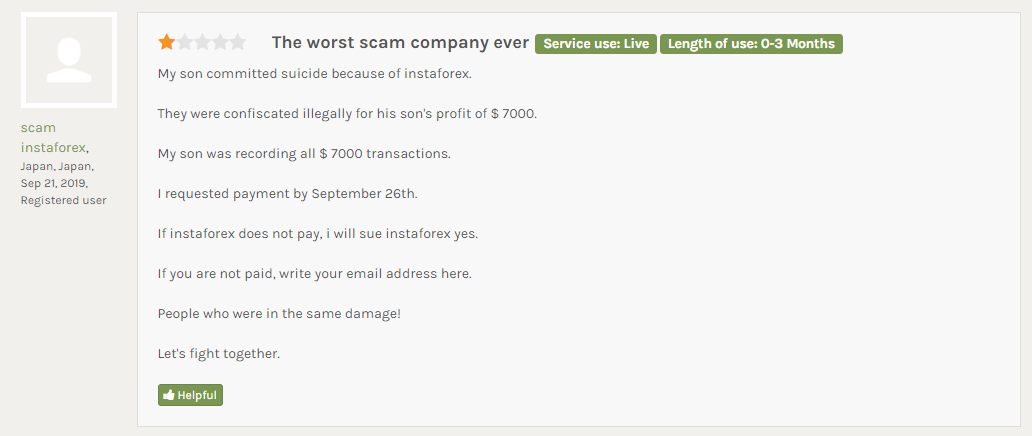 instaforexから利益7000ドルを違法に押収された